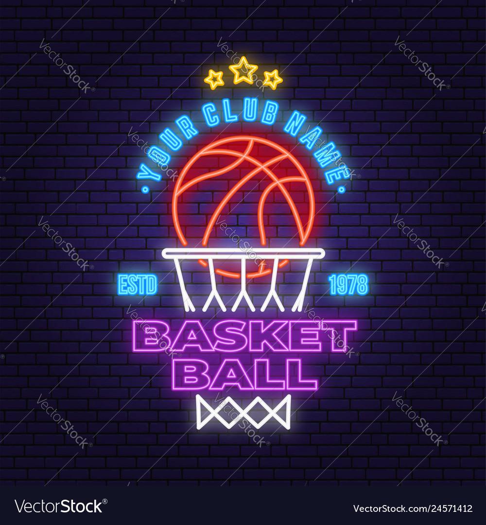 Basketball club neon design or emblem