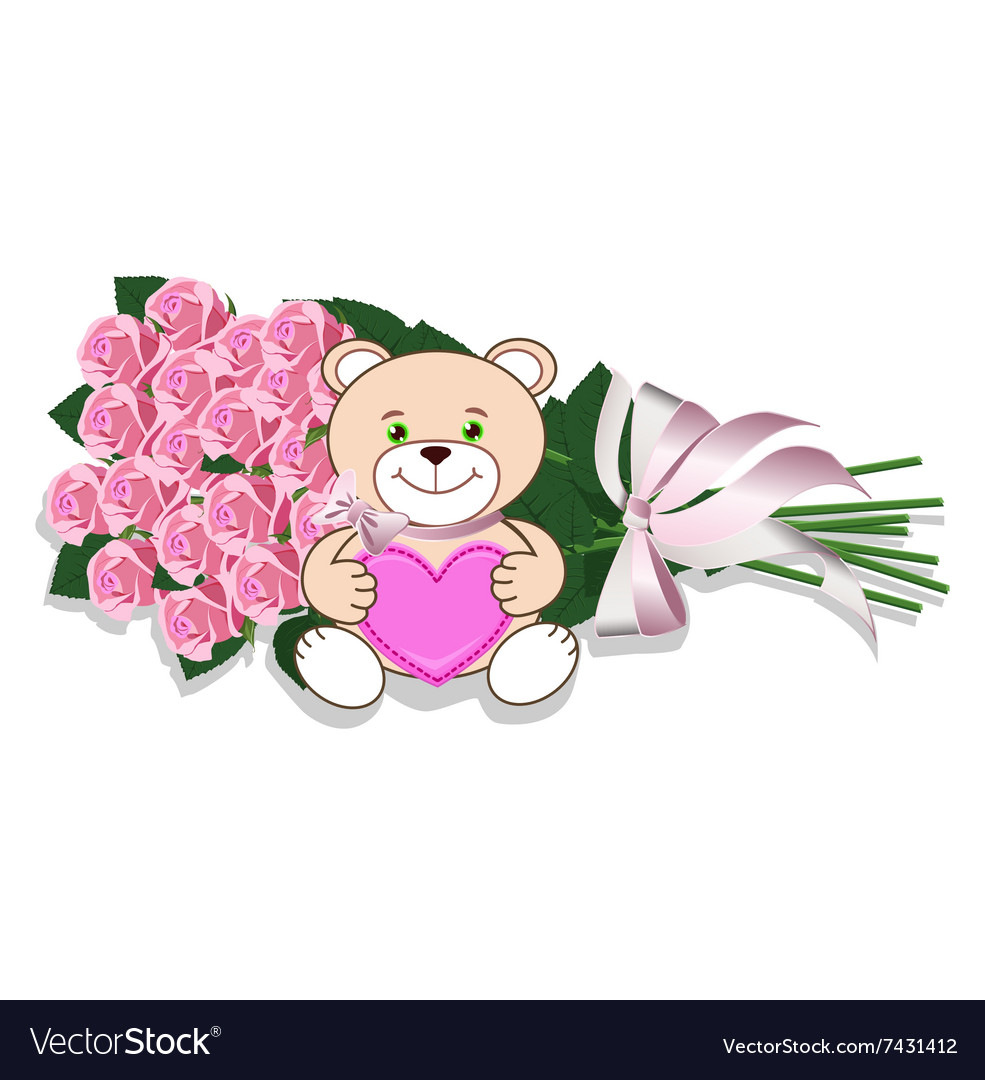 Bouquet of roses and teddy bear Royalty Free Vector Image