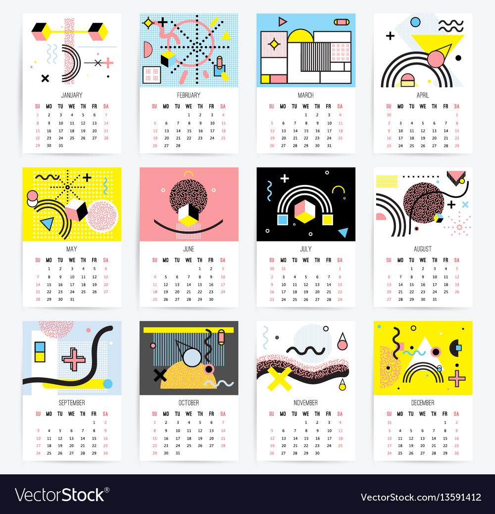 Calendar in memphis style