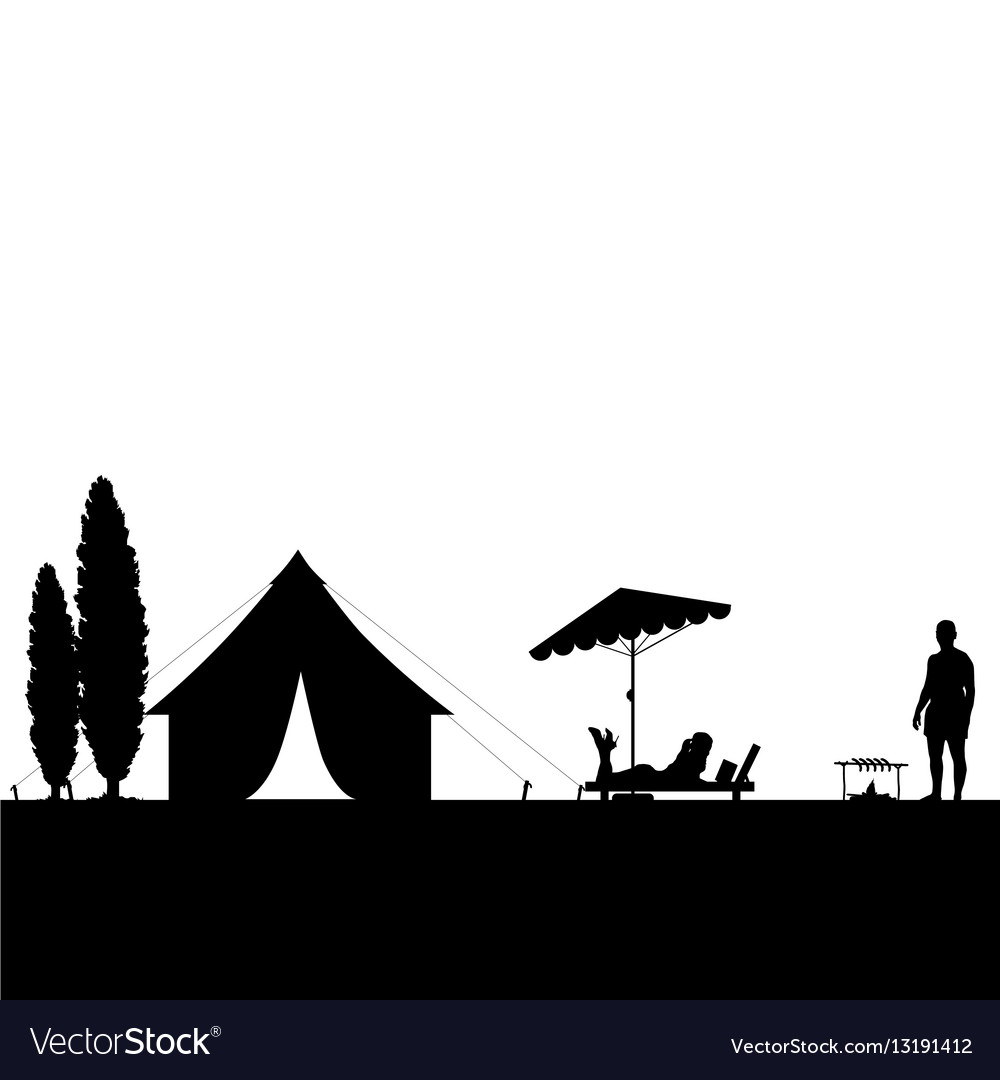 Camping in nature couple silhouette