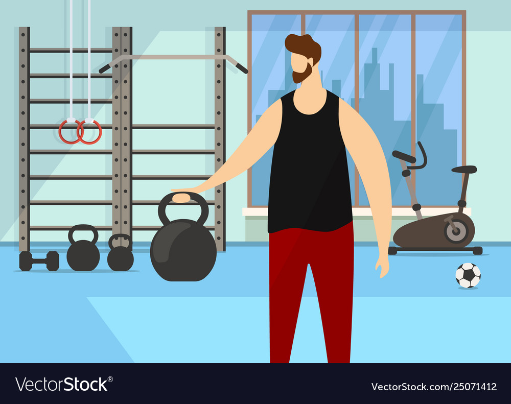 Character practicing exercise with dumbbell in gym