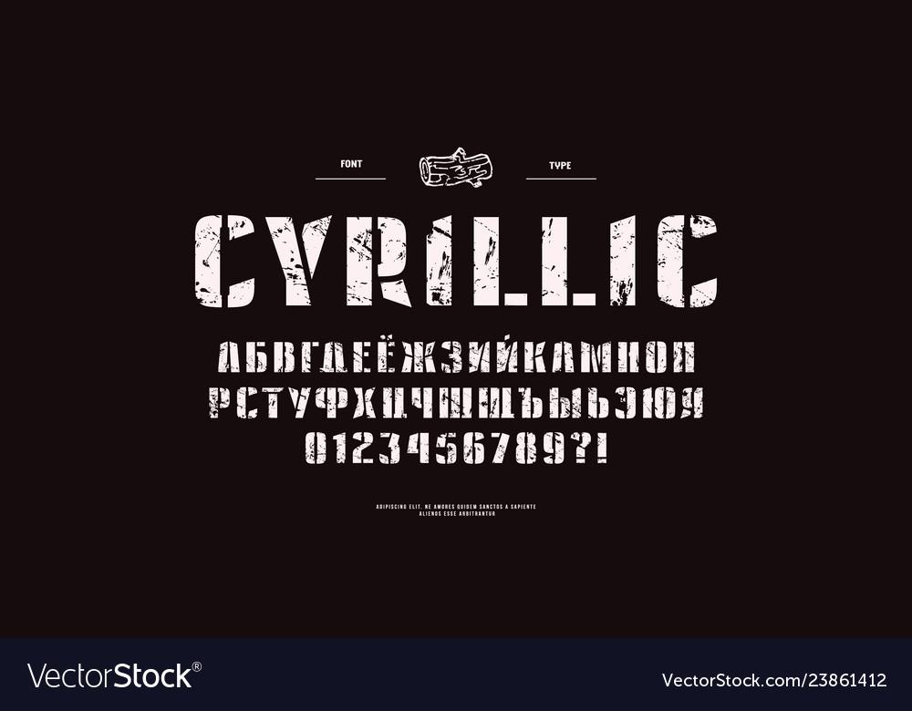 Cyrillic stencil-plate sans serif font
