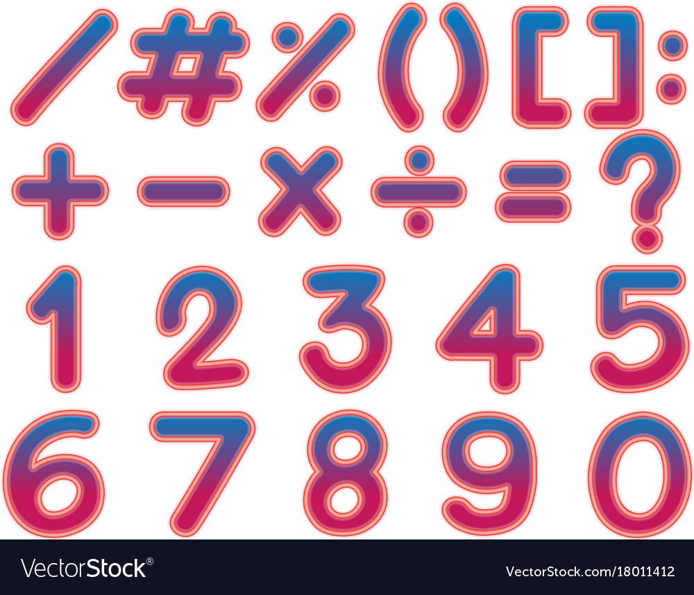 Font design for numbers and signs in pink color Vector Image