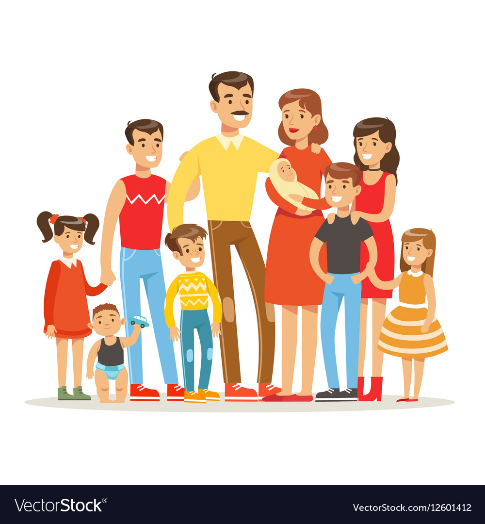Happy Big Caucasian Family With Many Children