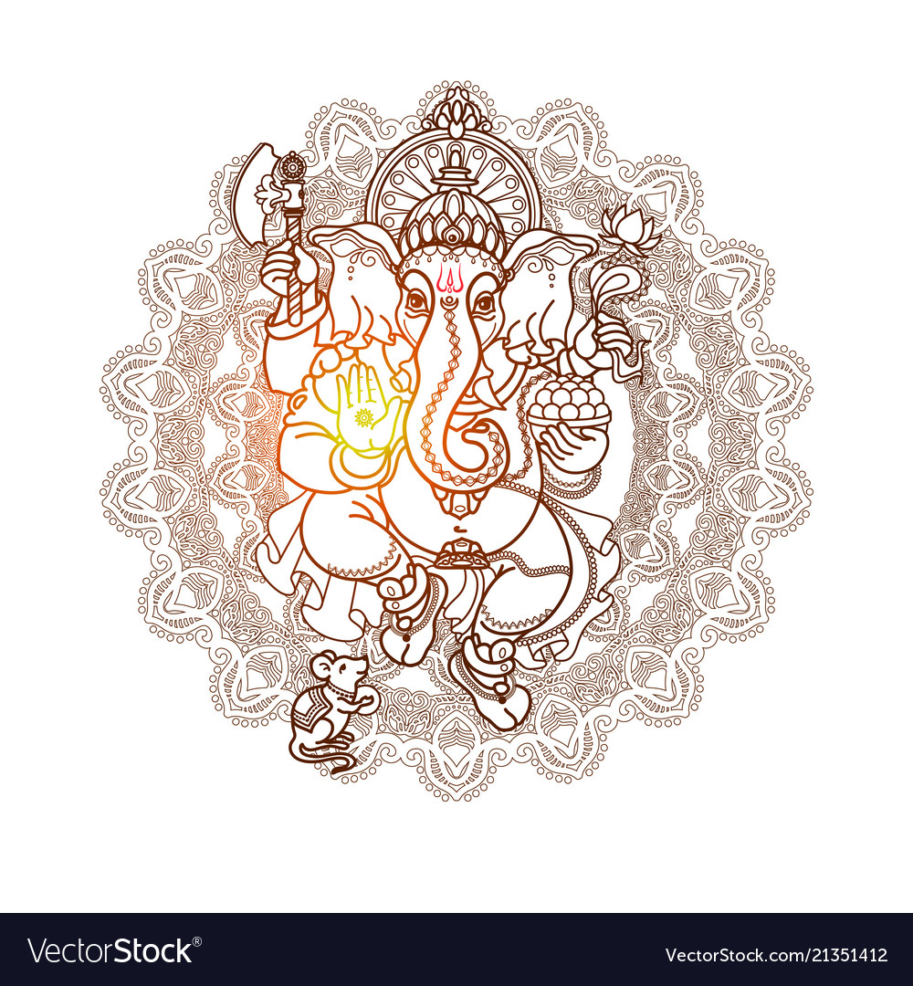 Hindu god ganesha hand drawn tribal style