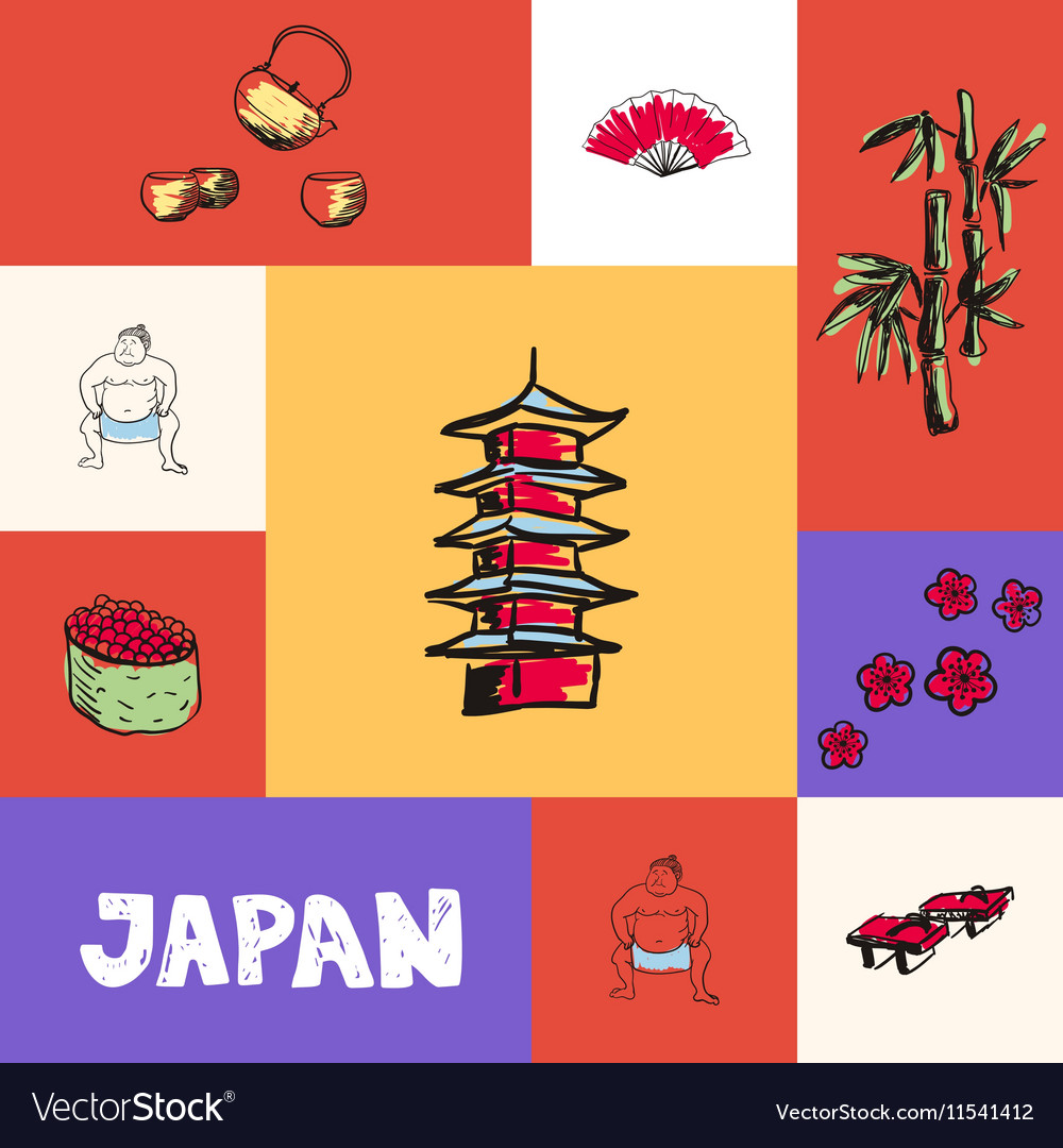 Japan Squared Concept with Doodles