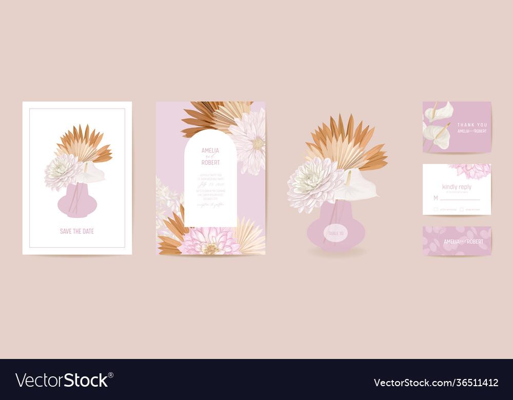Modern minimal art deco wedding invitation