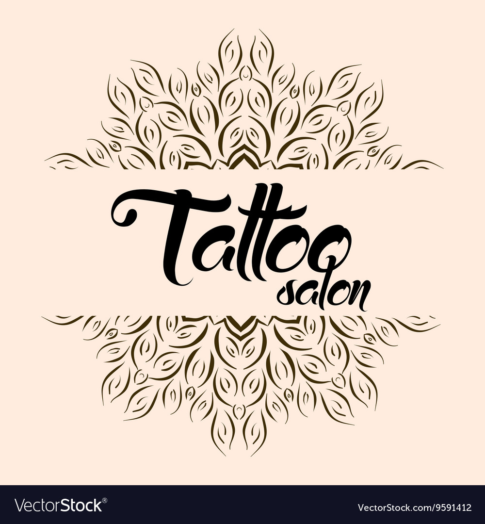 Tattoo salon emblem logo with mandala