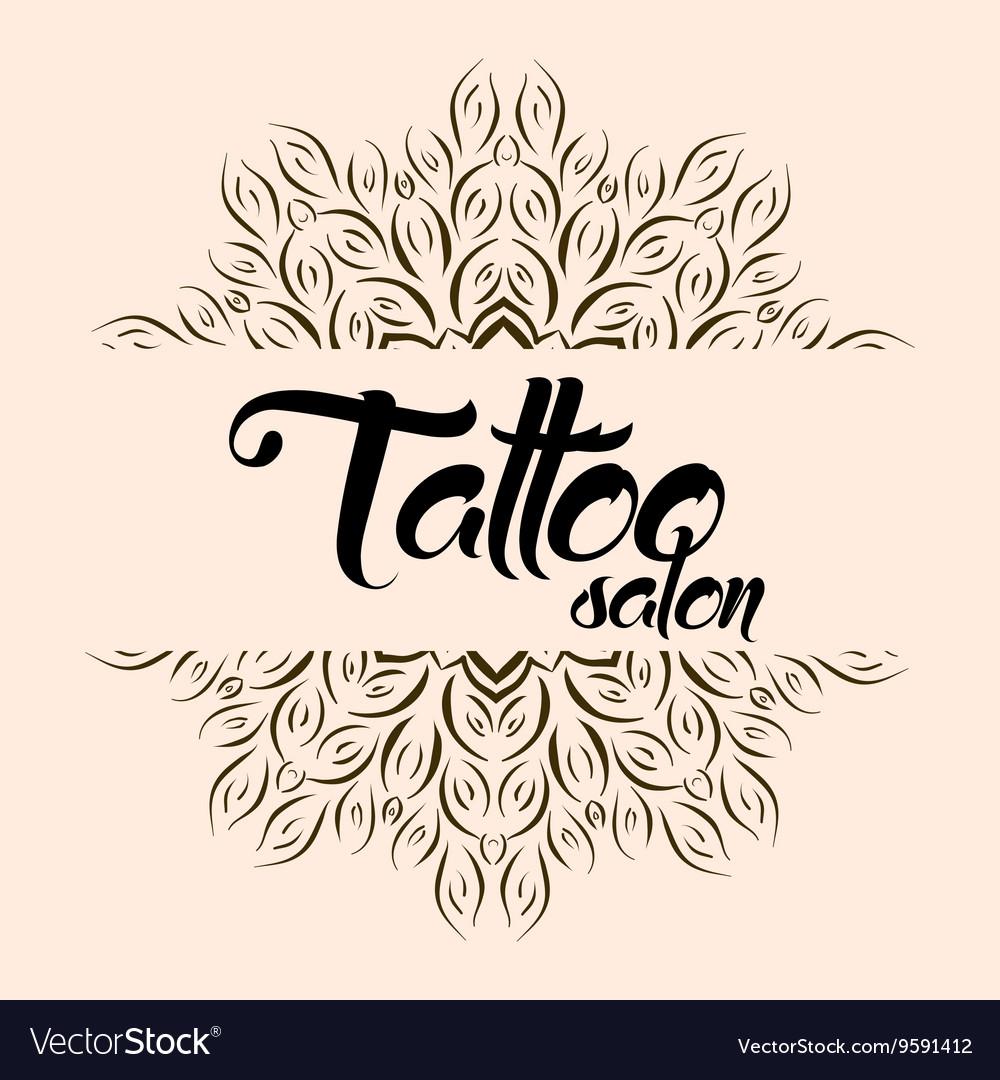 Tattoo salon emblem logo with mandala vector image