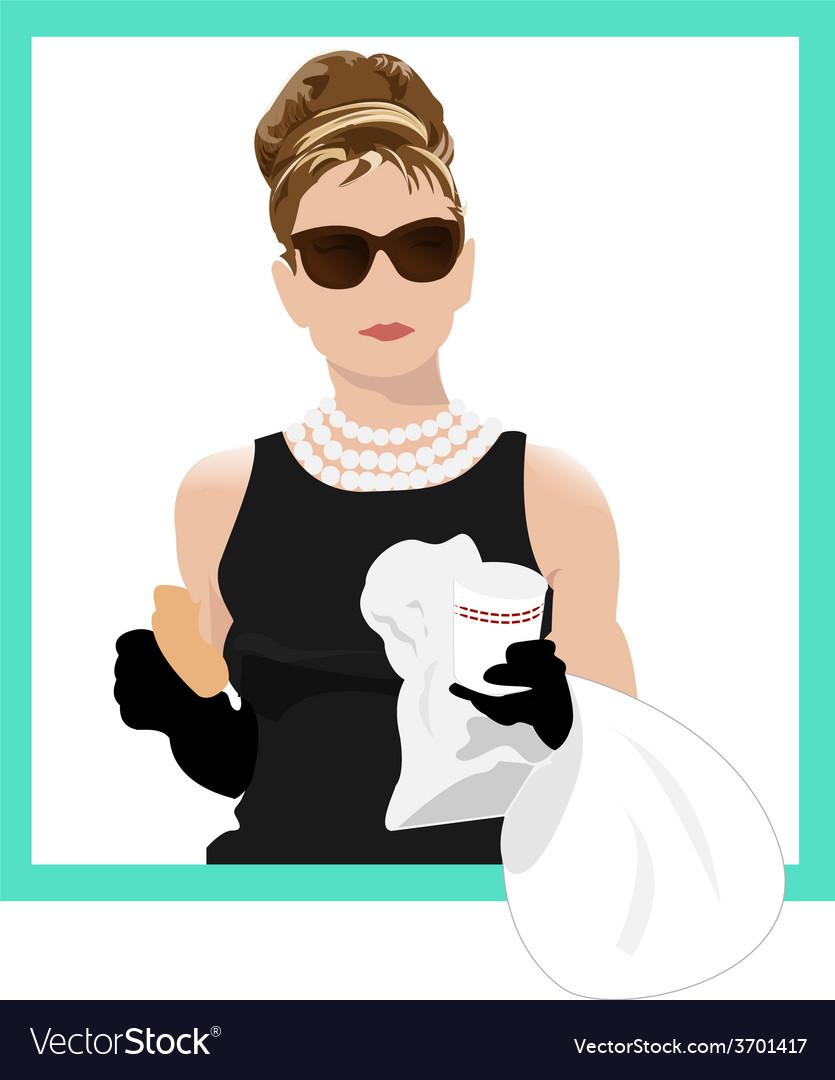 Audrey Hepburn Holly Golightly vector image