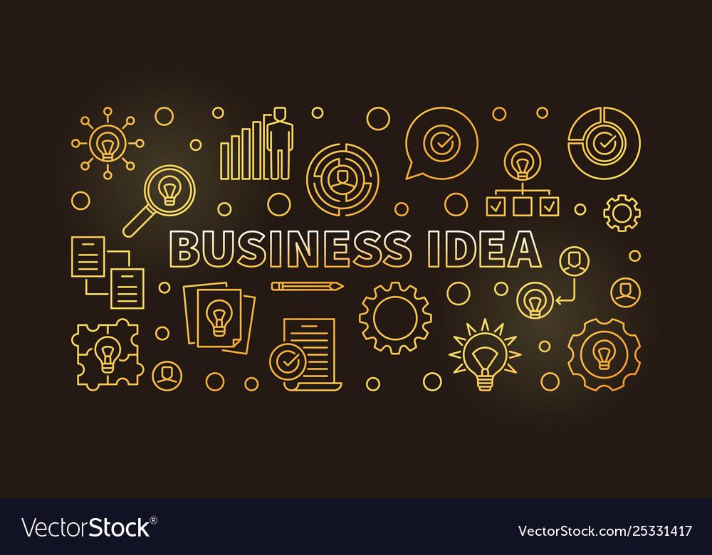 Business idea concept golden outline