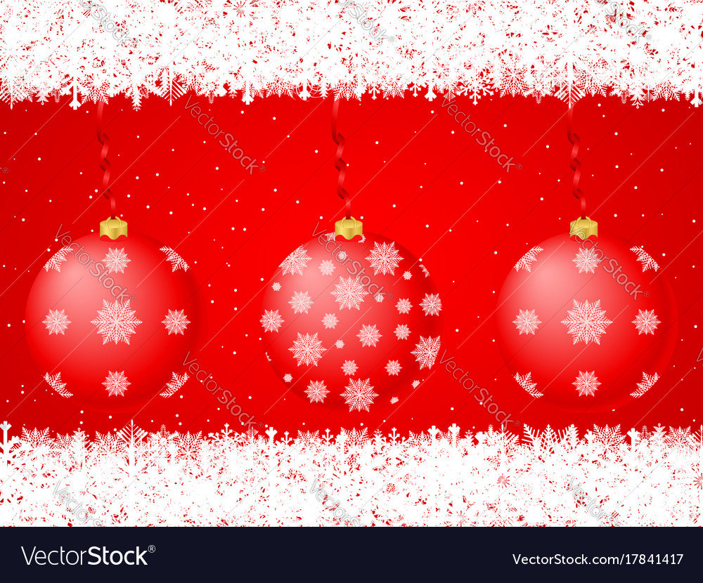 Christmas balls background red