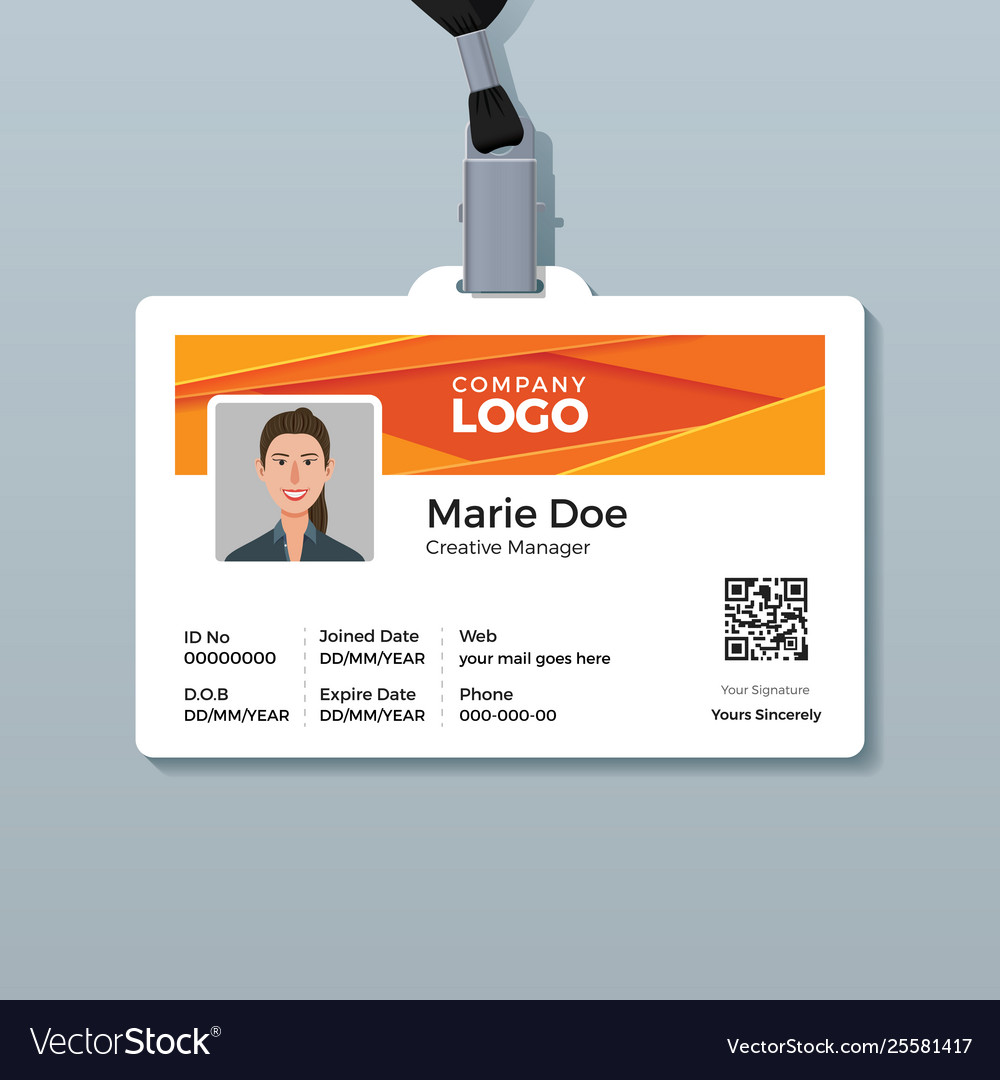 Corporate Id Card Template With Modern Abstract Vector Image