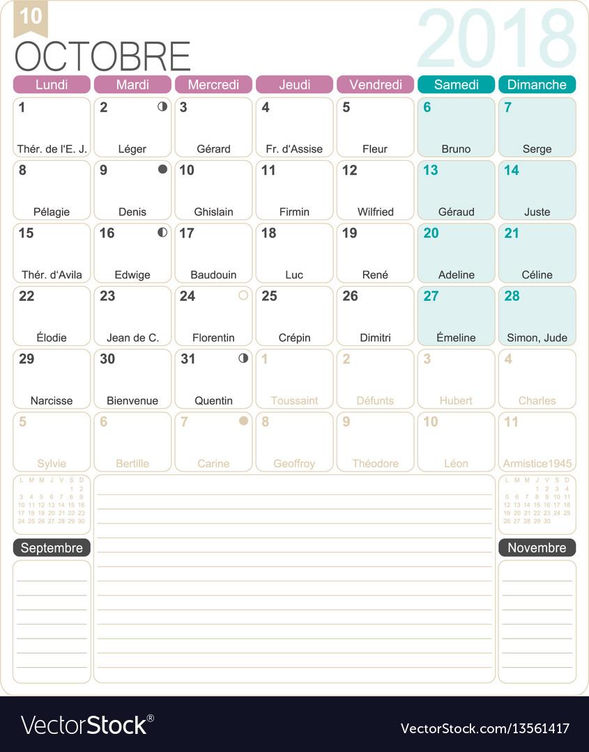 French calendar 2018