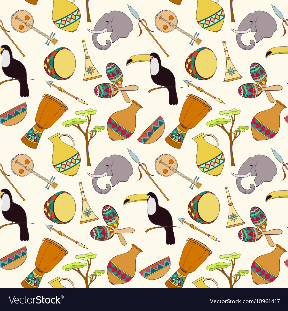 Hand-drawn seamless african pattern