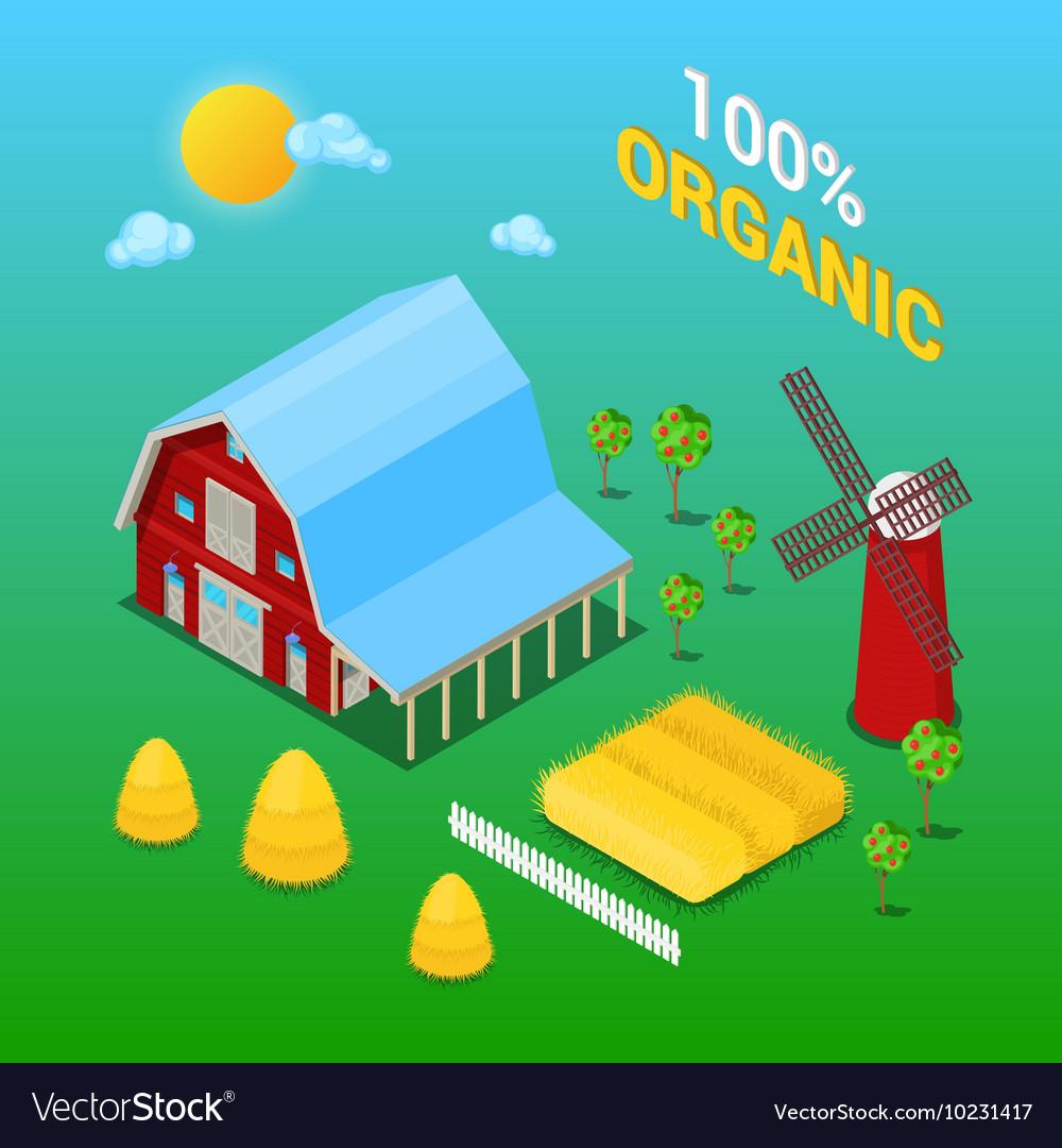 Isometric Farm Building with Organic Plant