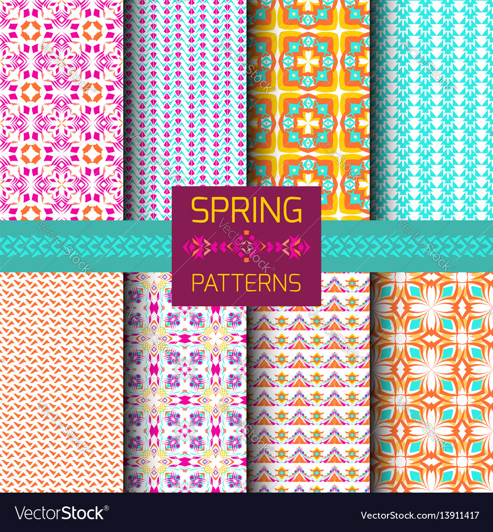 Set of geometric ornamental patterns vector image