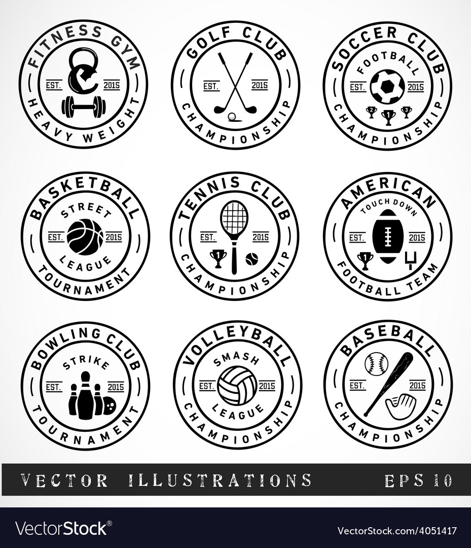 Sport badges and labels in vintage style