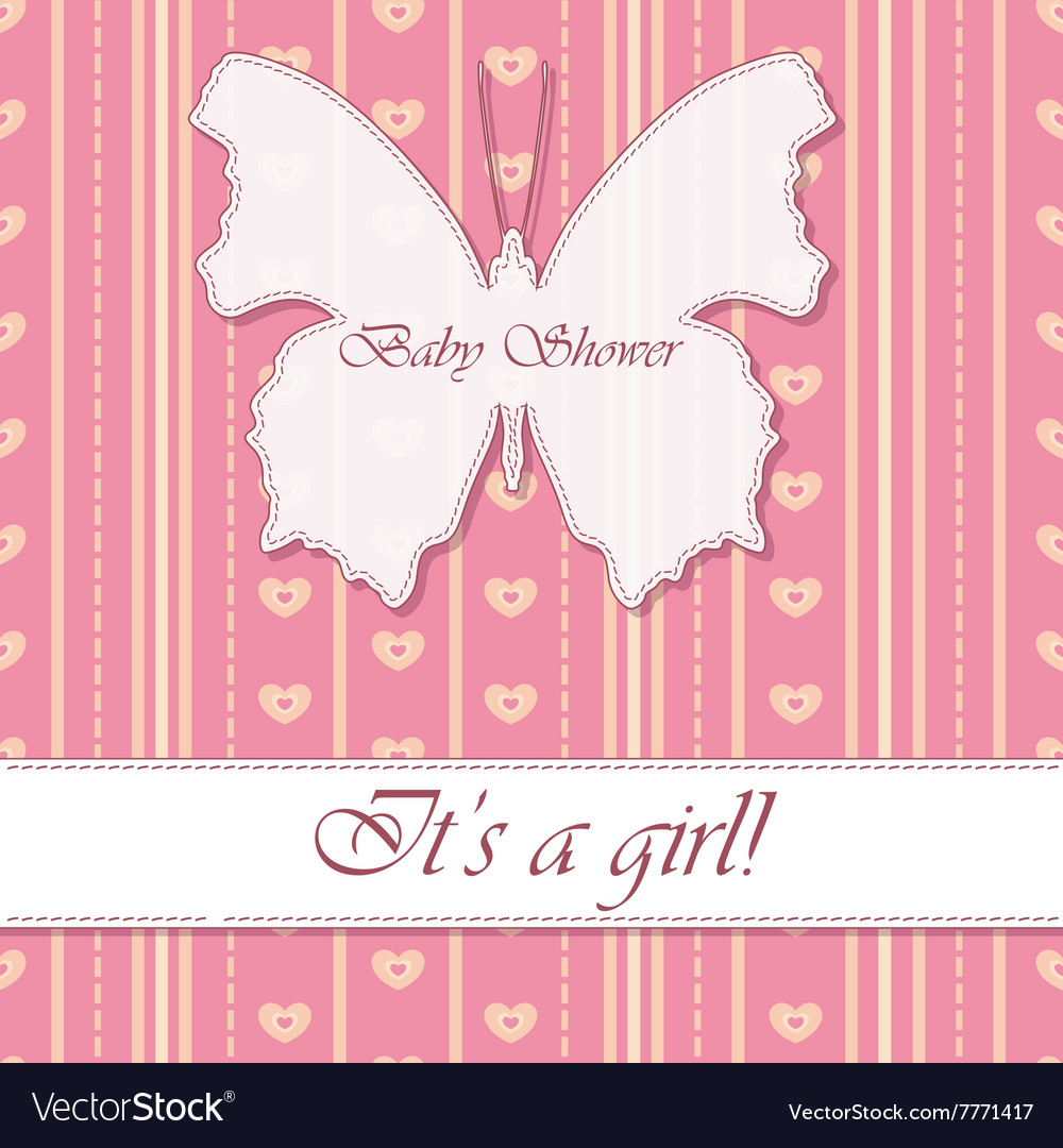 Striped Background Baby Shower Butterfly Girl Vector Image