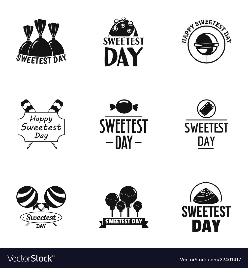 Sweetest day logo set simple style