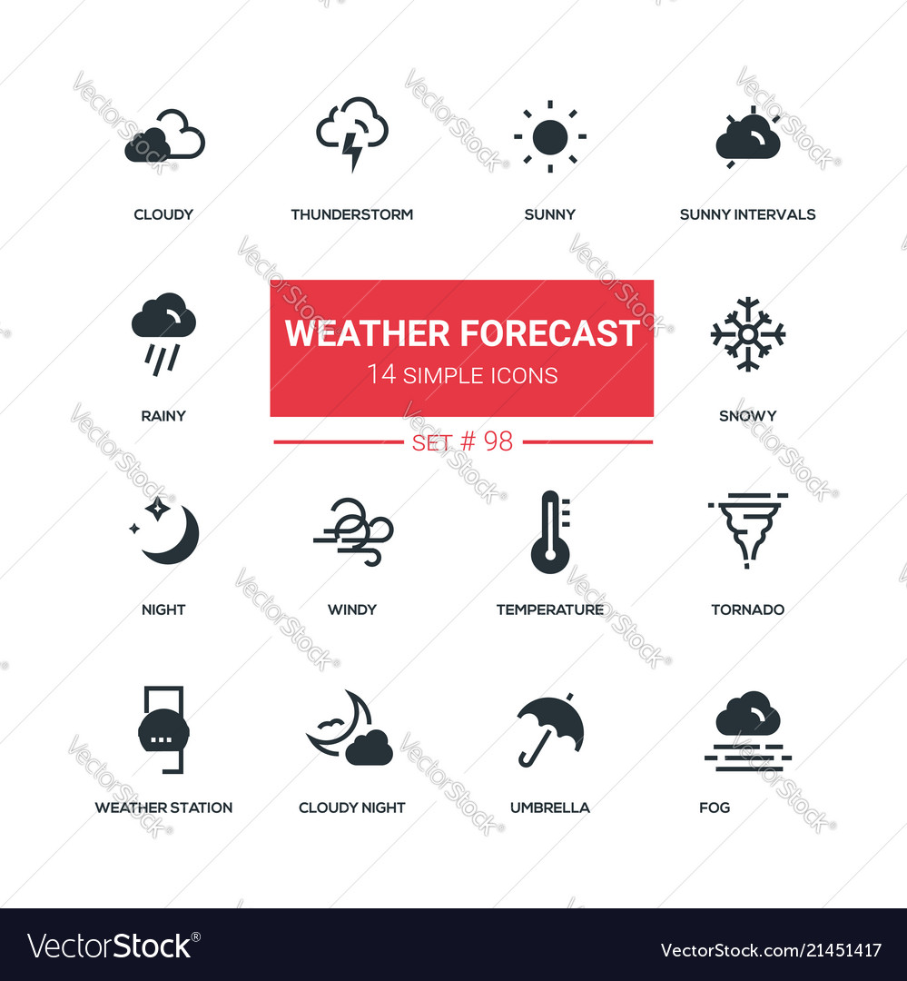 Weather forecast - flat design style icons set