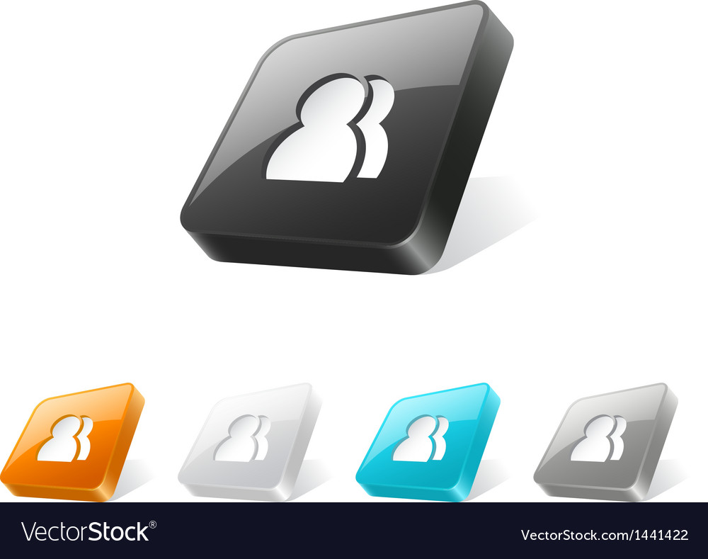 3d web button with users icon