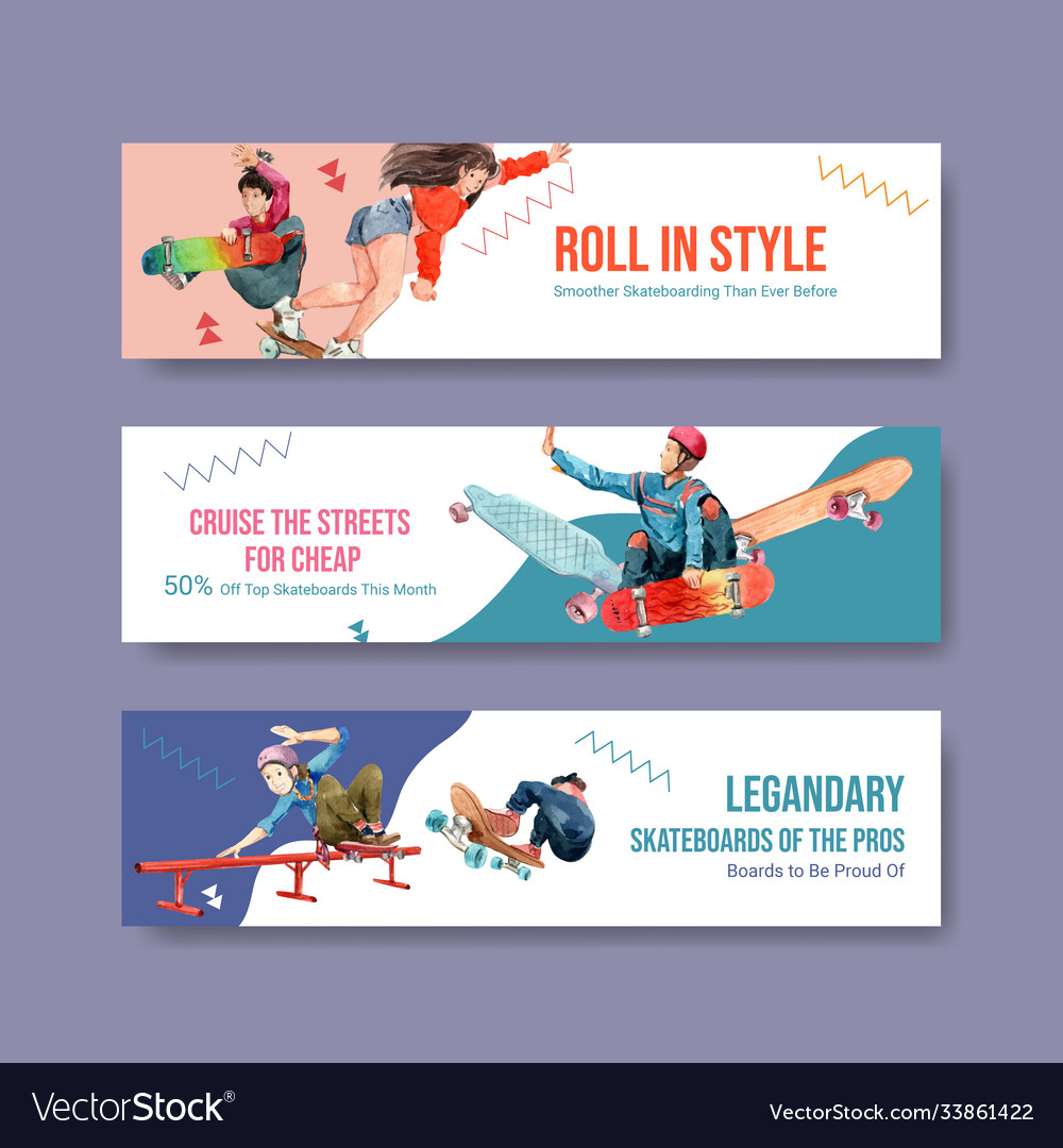 Banner template with skateboard design concept