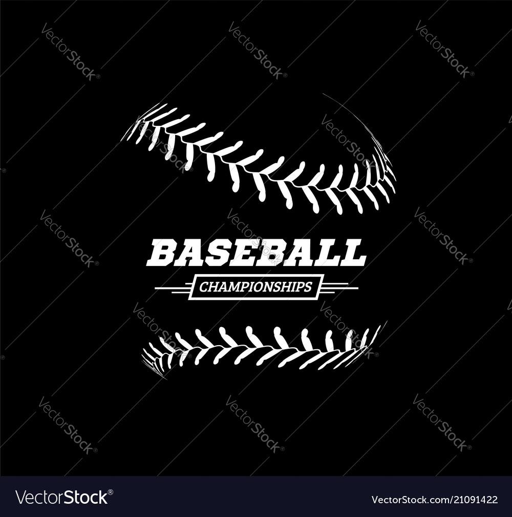 Baseball ball on black background