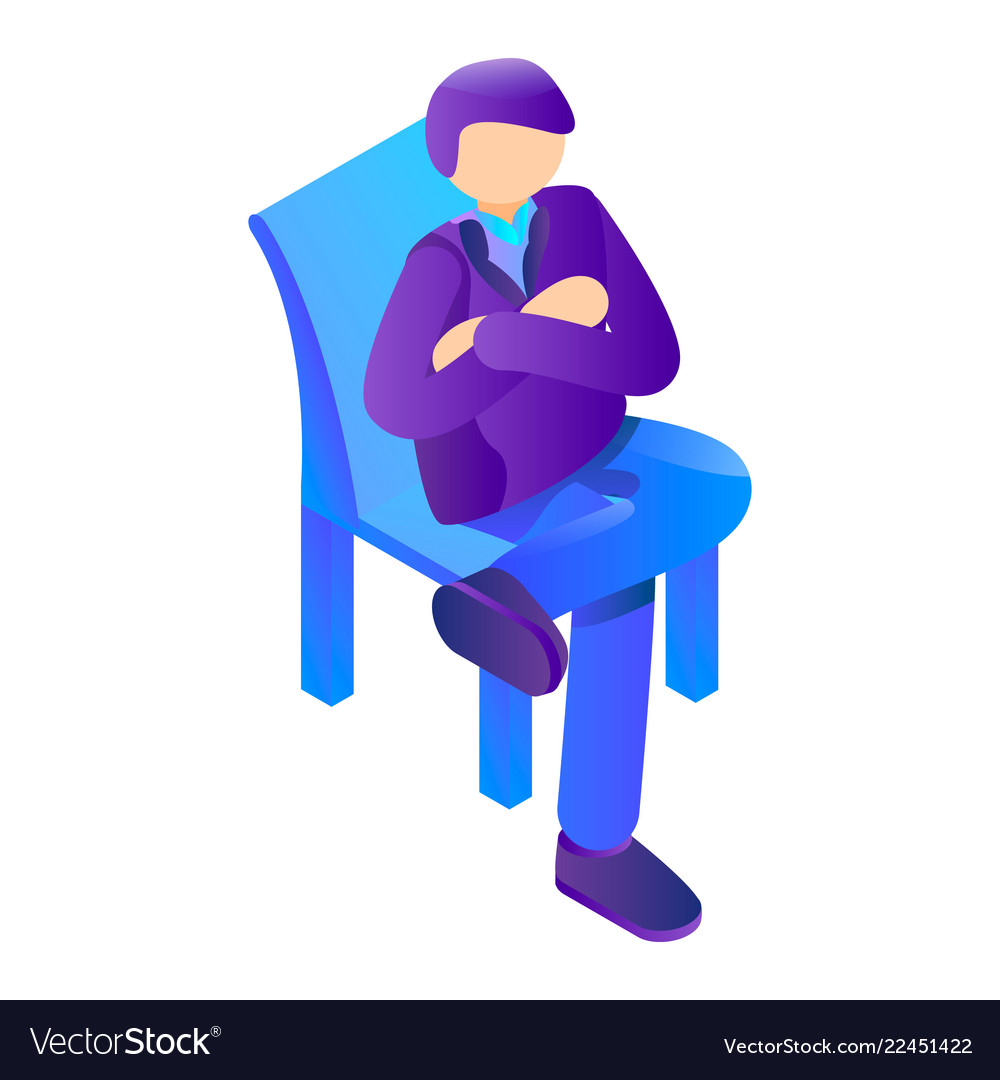 Boss at chair icon isometric style