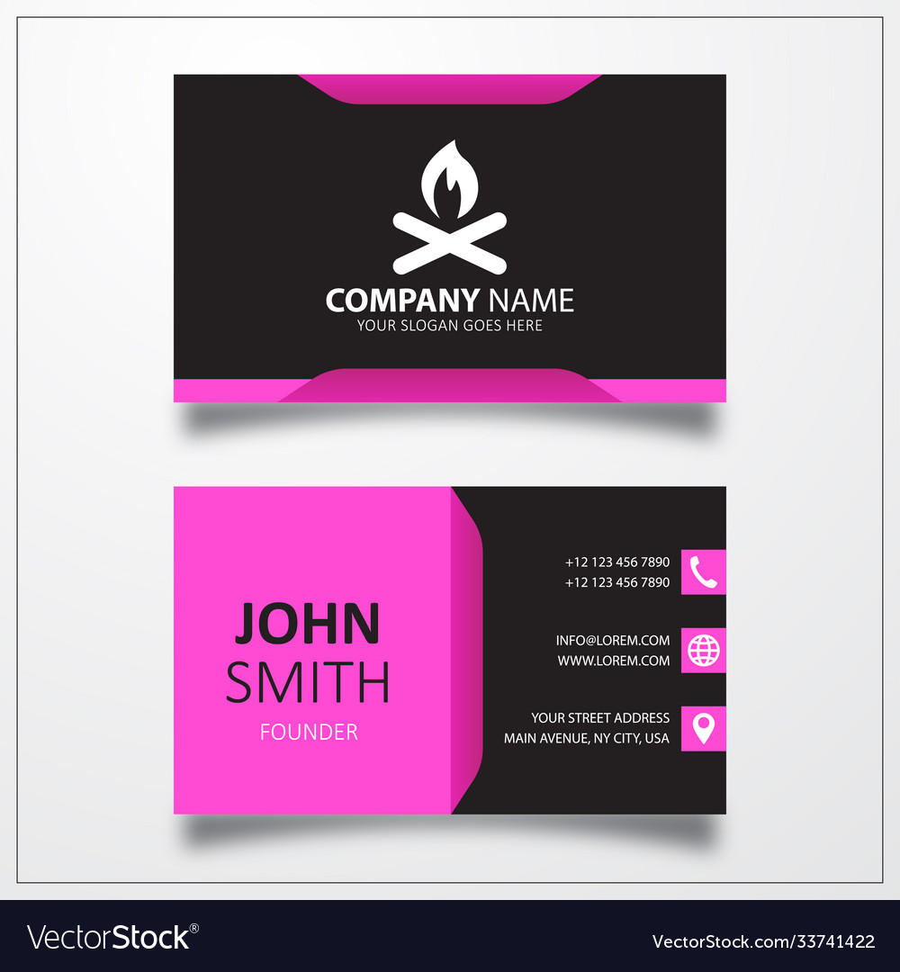 Campfire icon business card template