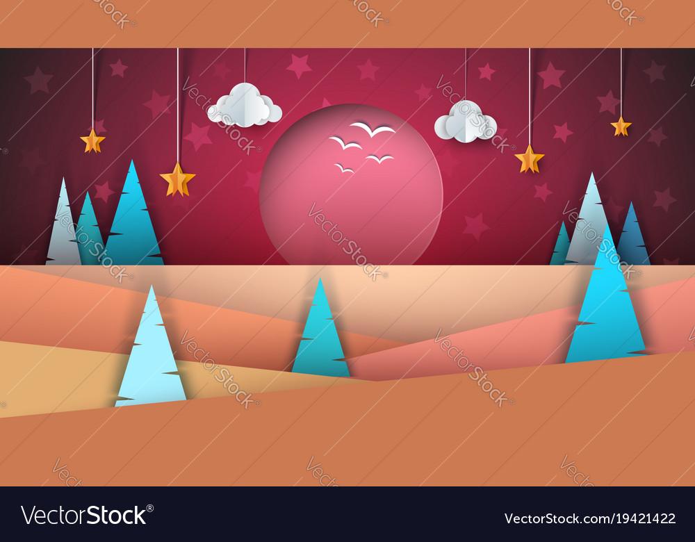 Cartoon paper landscape sun fir cloud star
