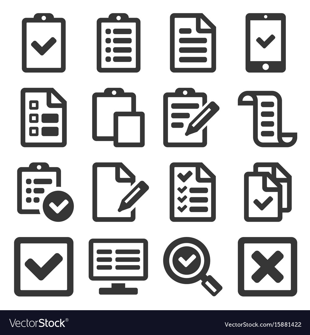 Checklist survey icon set on white background