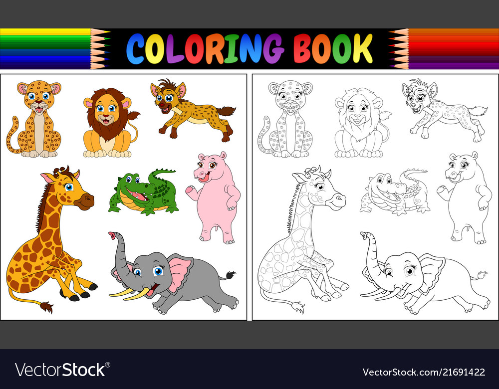 Coloring Book With Wild Animals Cartoon Royalty Free Vector