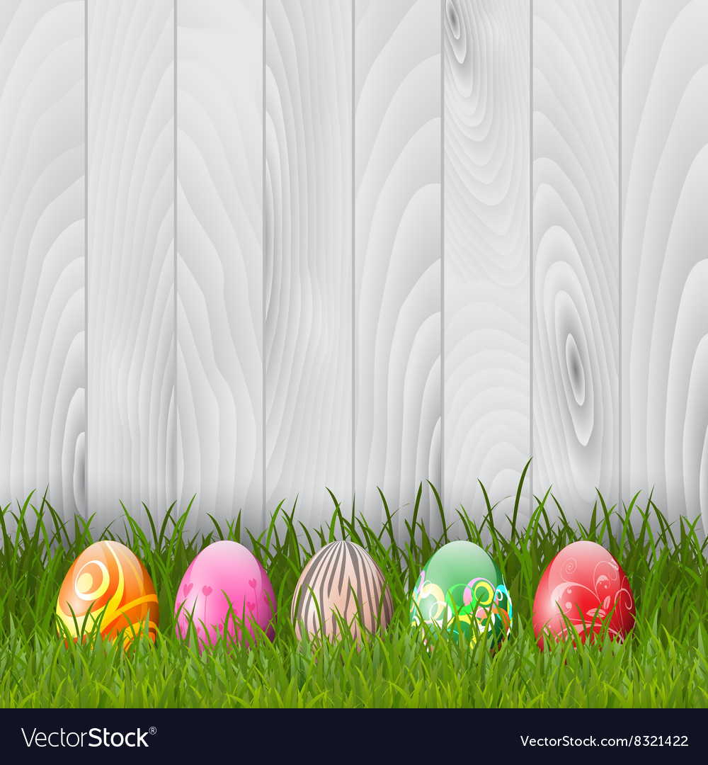 Easter eggs on wood background 0103