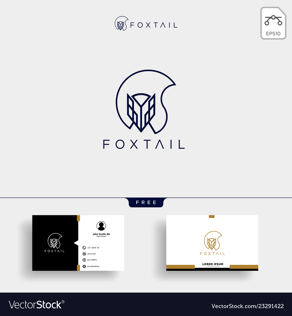 Fox tail monoline logo template and business card