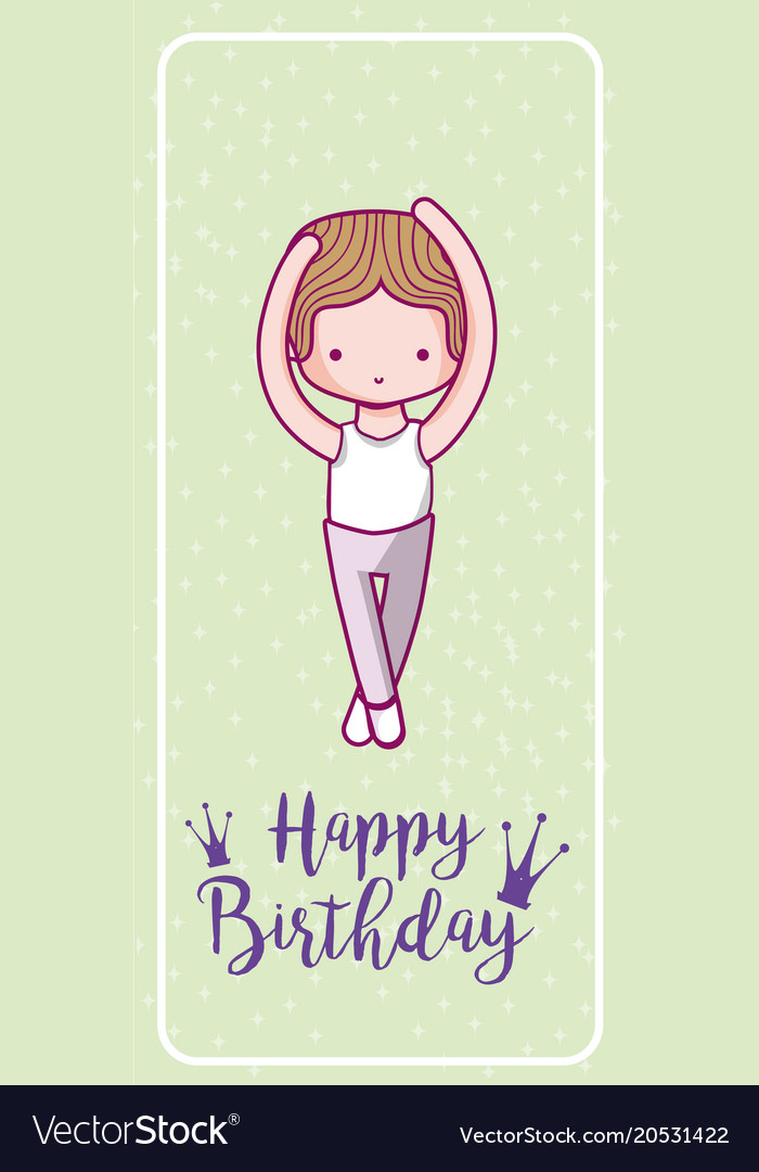 Happy Birthday Card With Cute Boy Dancer Vector Image