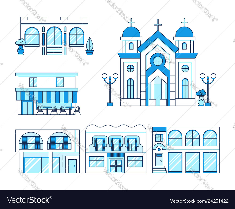 Prime Line Art Set Of Houses With Balcony Church Shop Download Free Architecture Designs Scobabritishbridgeorg