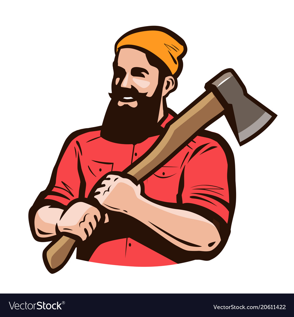 Lumberjack axeman with axe in hands carpentry