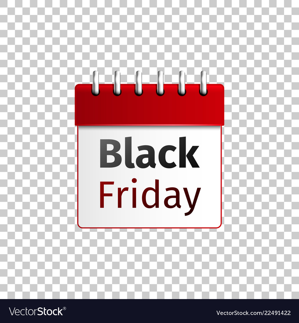 Realistic red calendar with black friday isolated