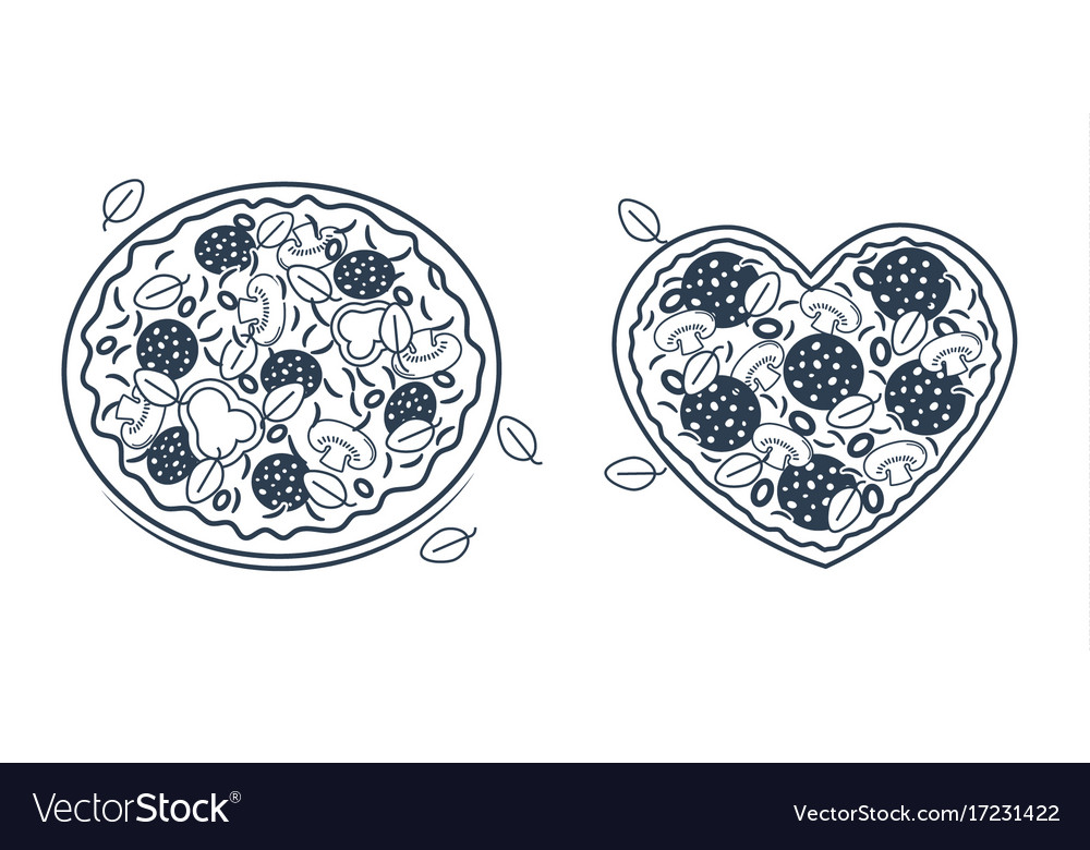 Set of silhouettes of pizza