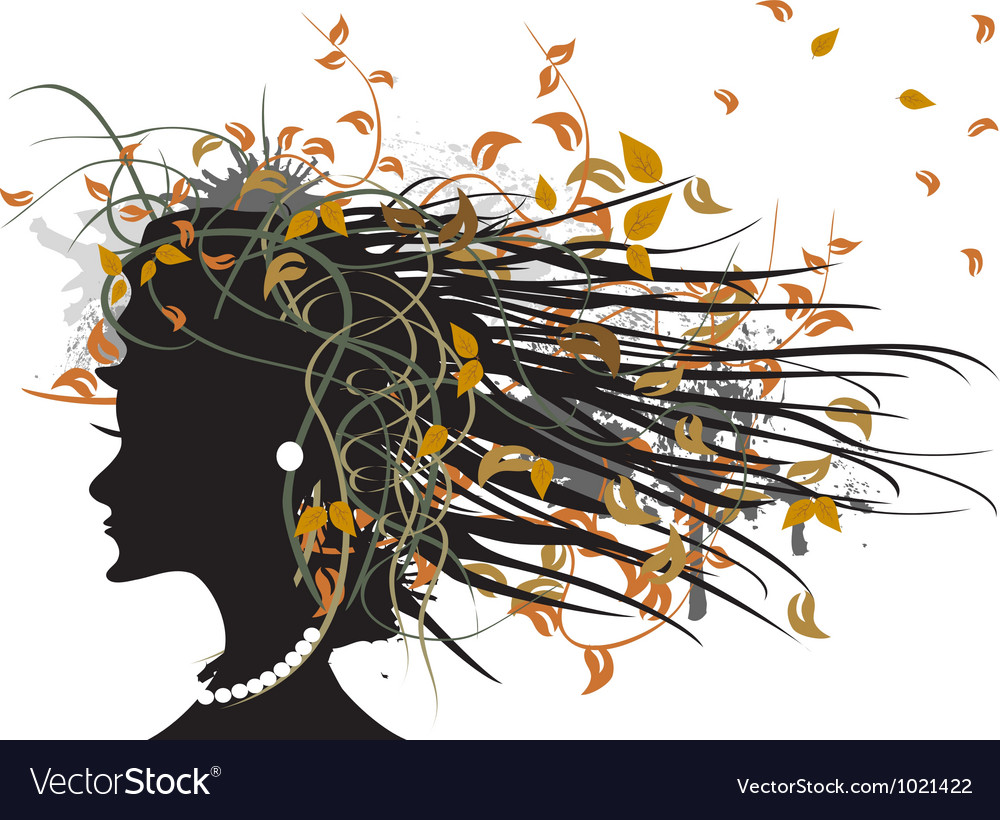 Silhouette of floral autumn girl vector image