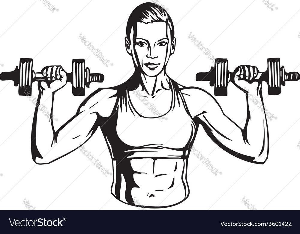 Woman with dumbbells - fitness