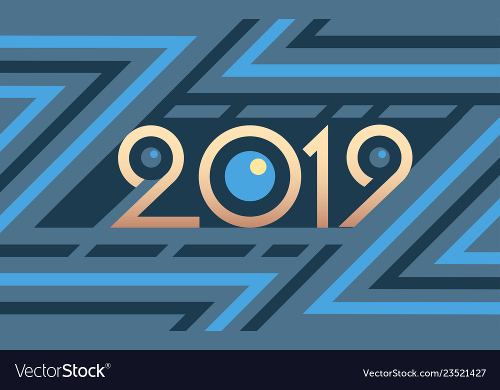 2019 geometric numbers on colorful blue