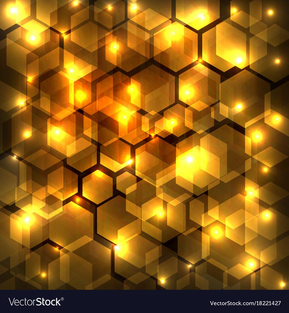 Abstract golden shine hexagon geometric on dark