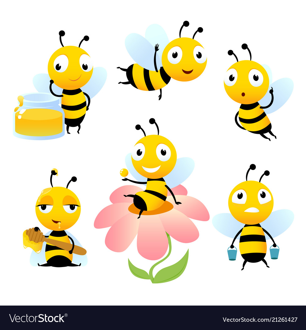 Cartoon bees funny of characters