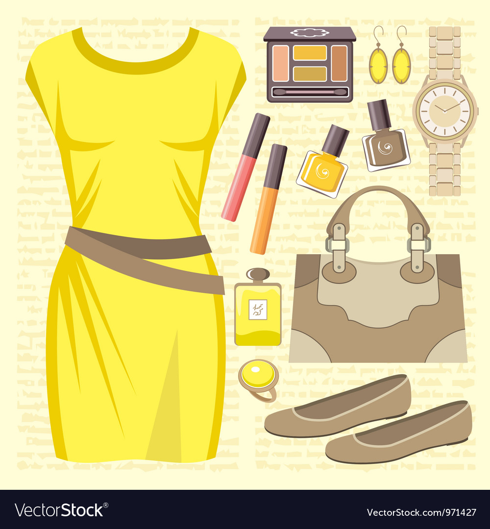 Fashion set with a casual dress vector image