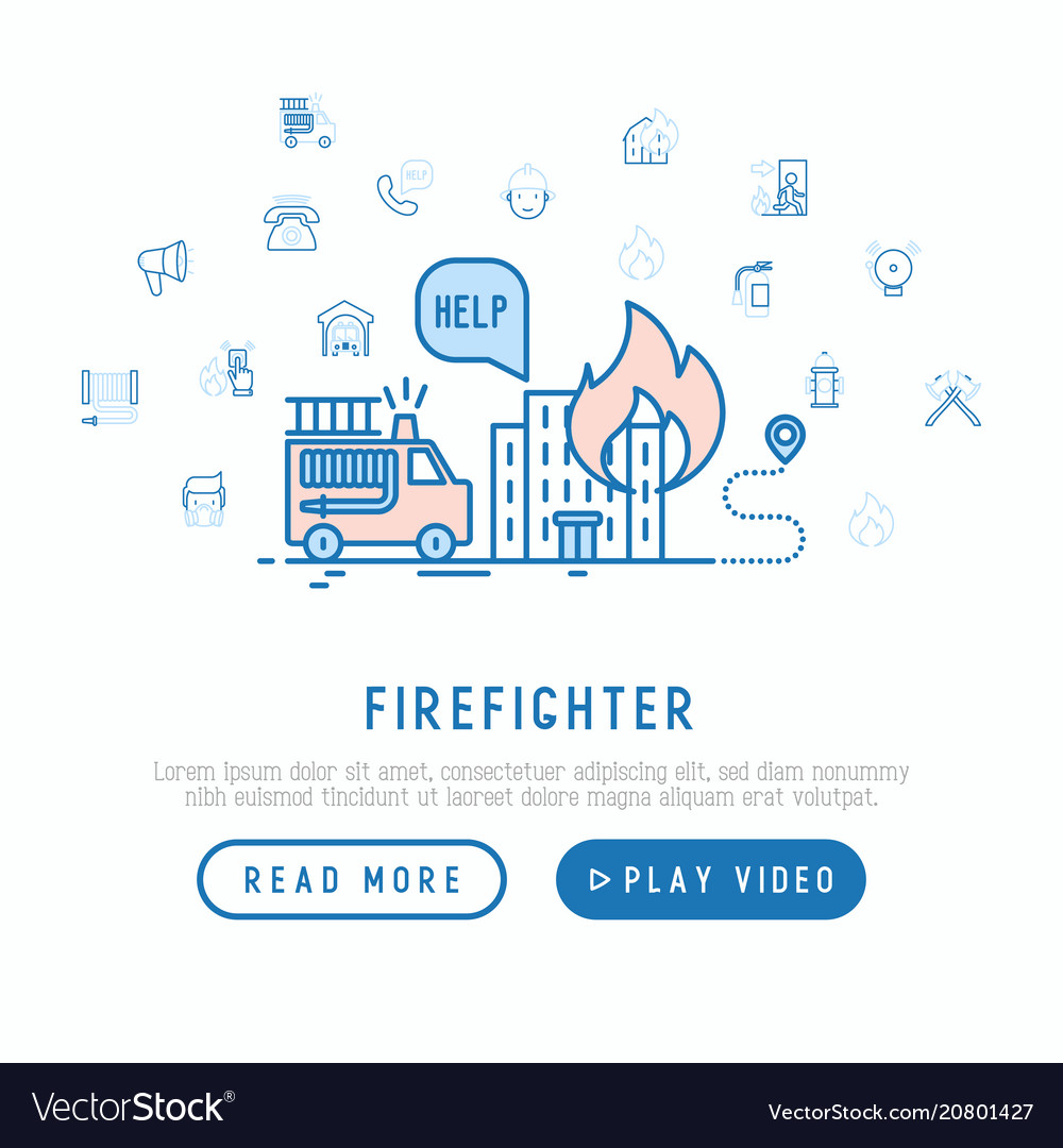 firefighter concept template for web page vector image