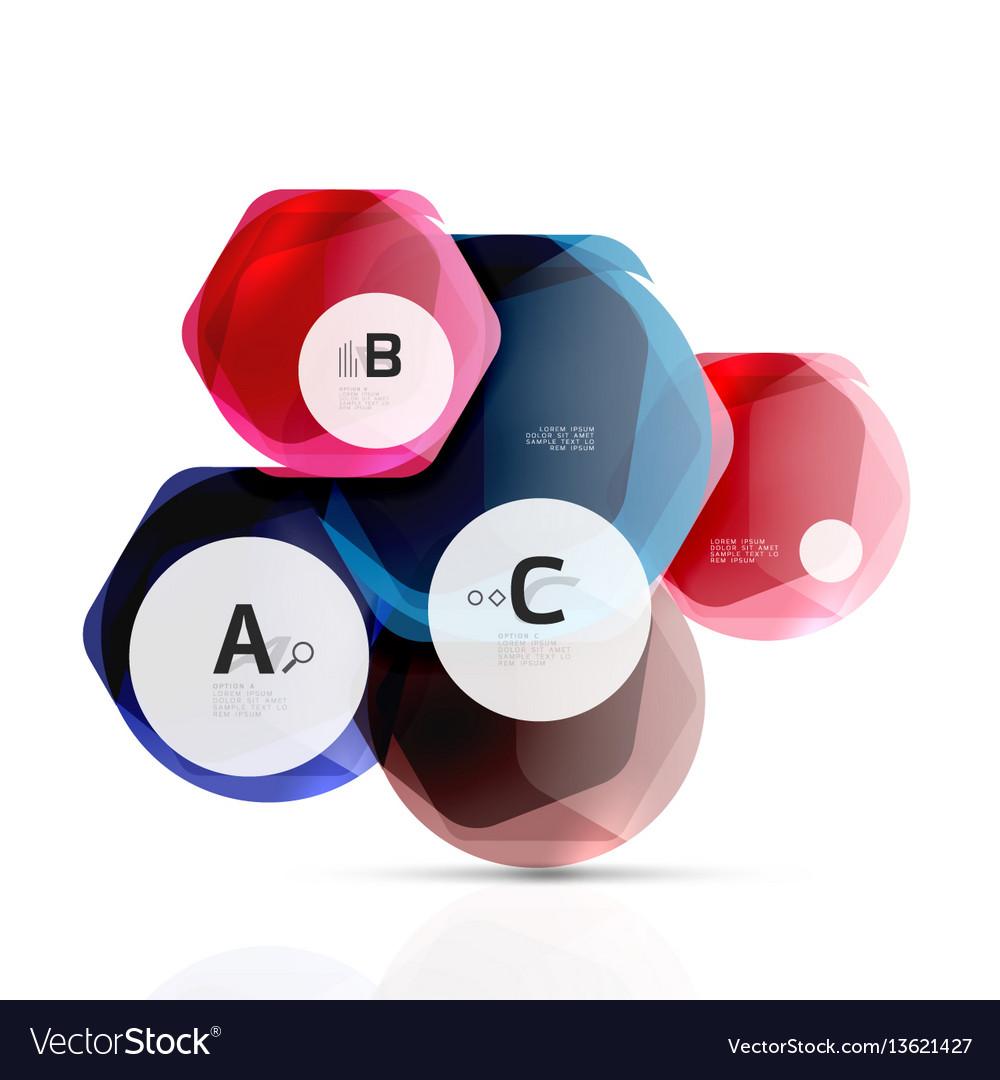 Glass color hexagons glossy plastic hexagon