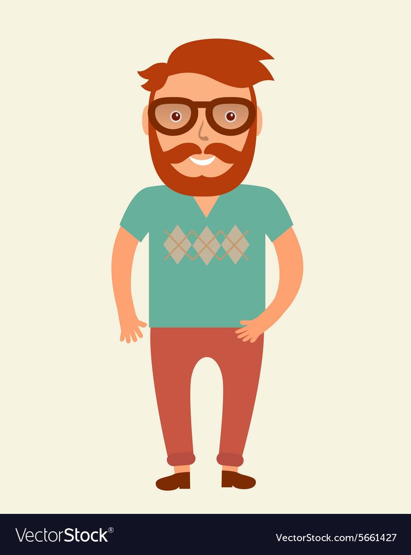 Hipster man Flat style young beard man vector image