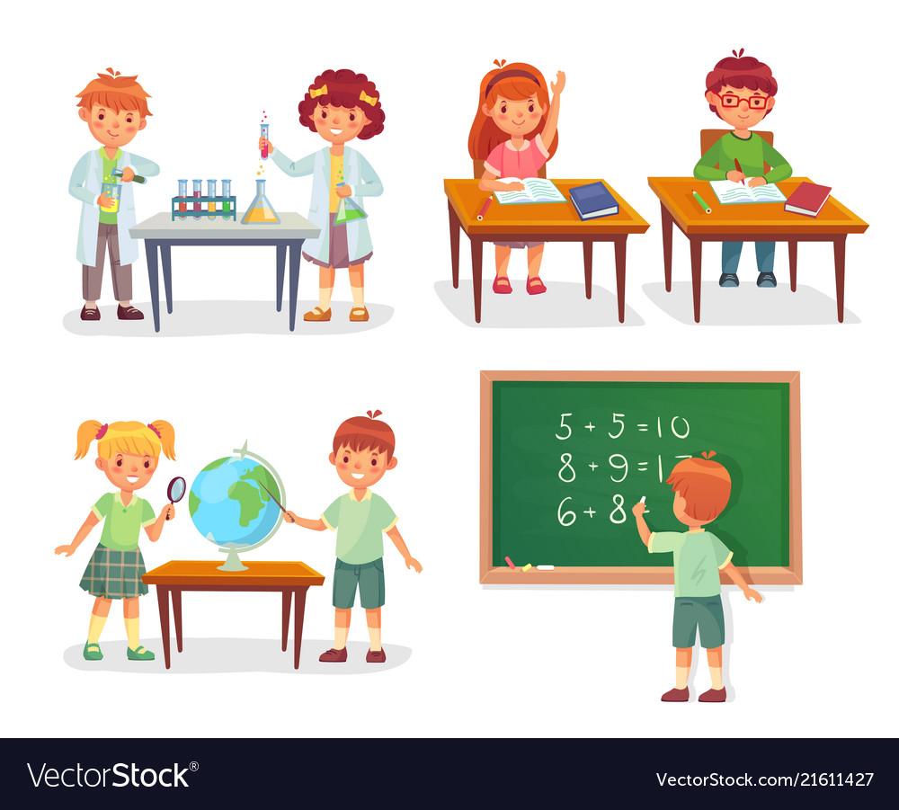 Kids on school lesson primary schools pupils on